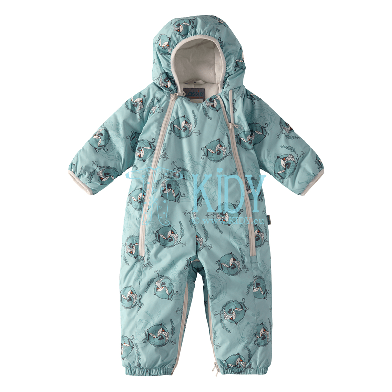 Green winter FOX 2 in 1 snowsuit with anti-scratch mittens