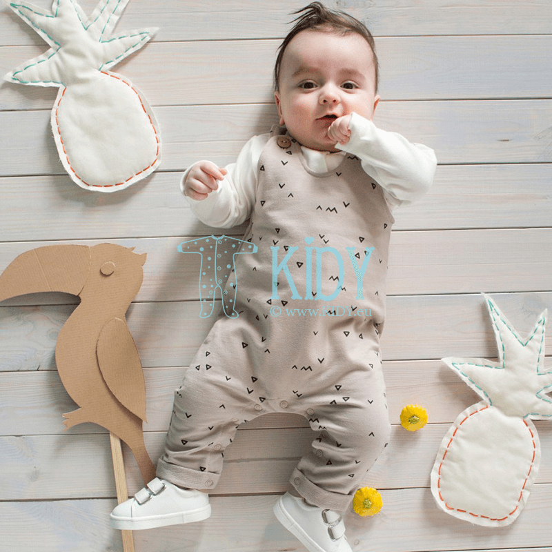 Beige LEON footless dungaree