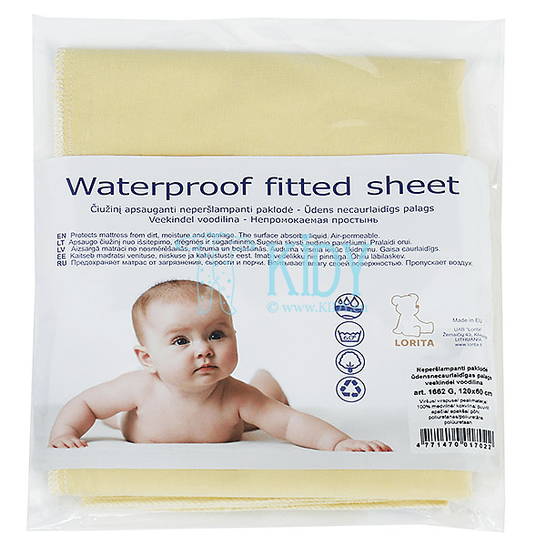 Yellow waterproof fitted sheet