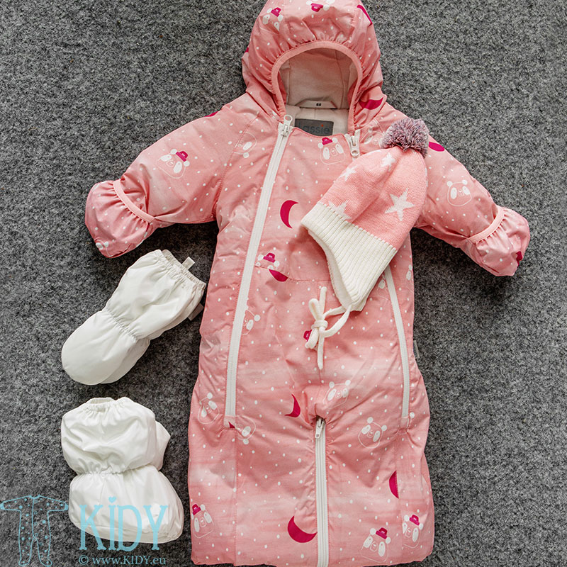 Pink STAAVA 2 in 1 snowsuit with mitts