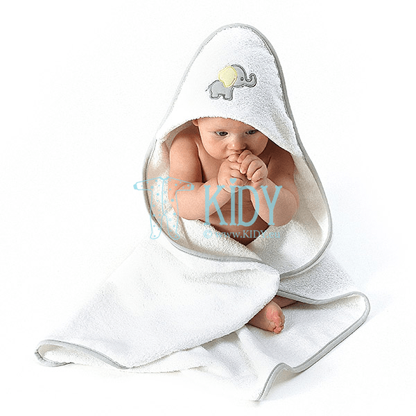 White ELLIE hooded towel