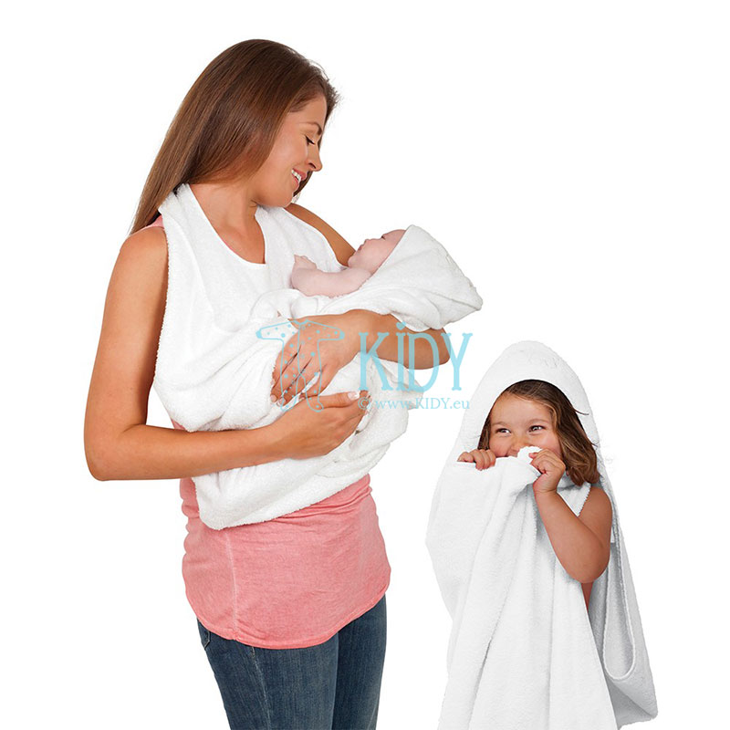 White SPLASH & WRAP hooded towel (ClevaMama) 3