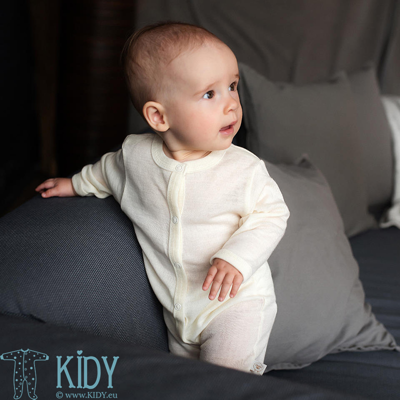 Creamy merino wool LAMB sleepsuit