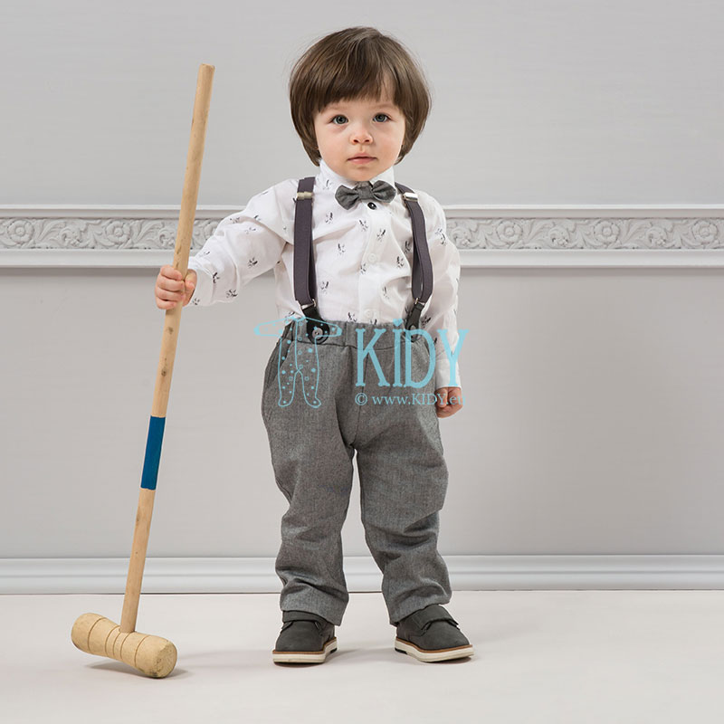 Grey PRINCE trousers with suspenders