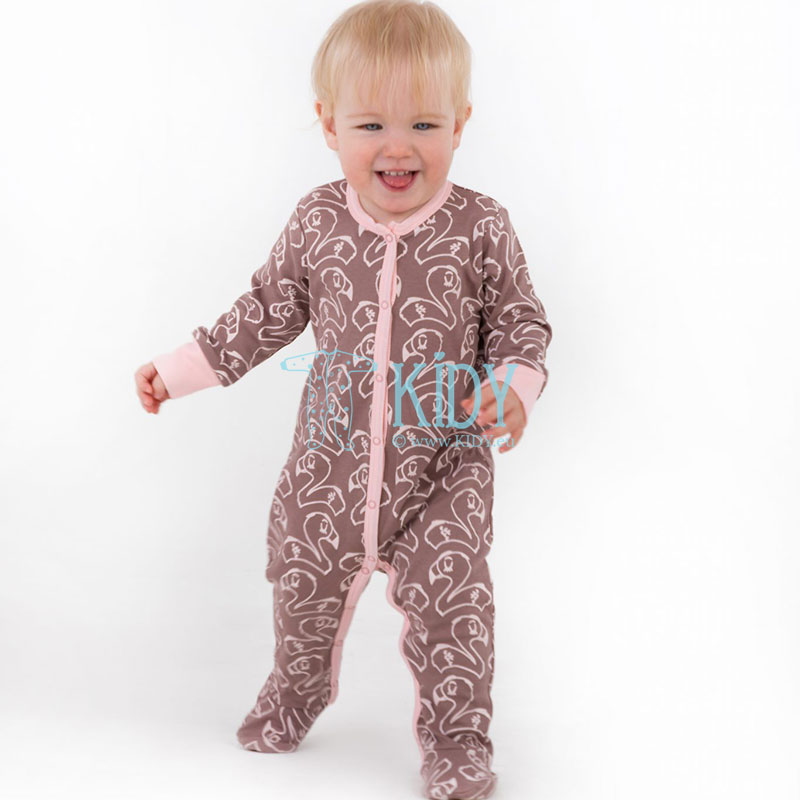 Brown PINKY FLAMINGO sleepsuit