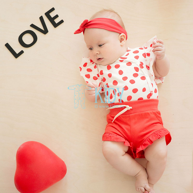 Red LOVE & LOVE kimono bodysuit with short sleeves