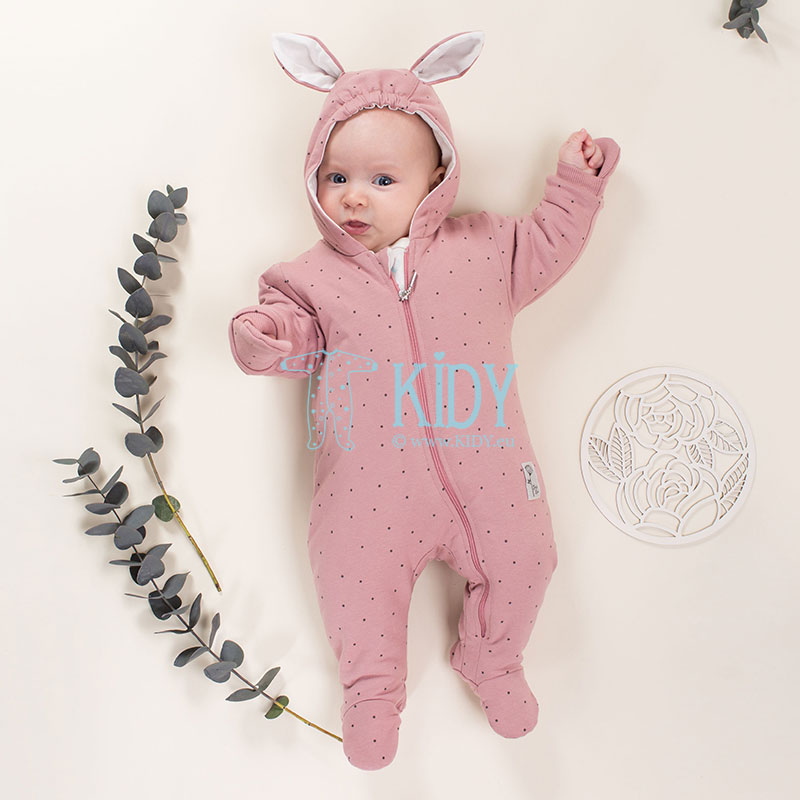 Pink PETIT LOU snowsuit with mitts