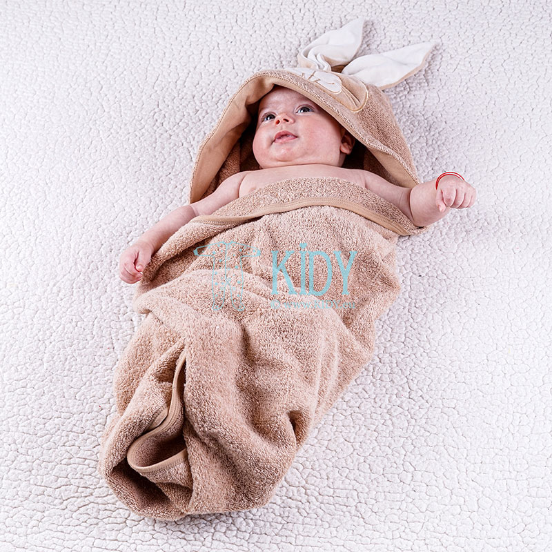 Brown hooded organic cotton RABIT towel