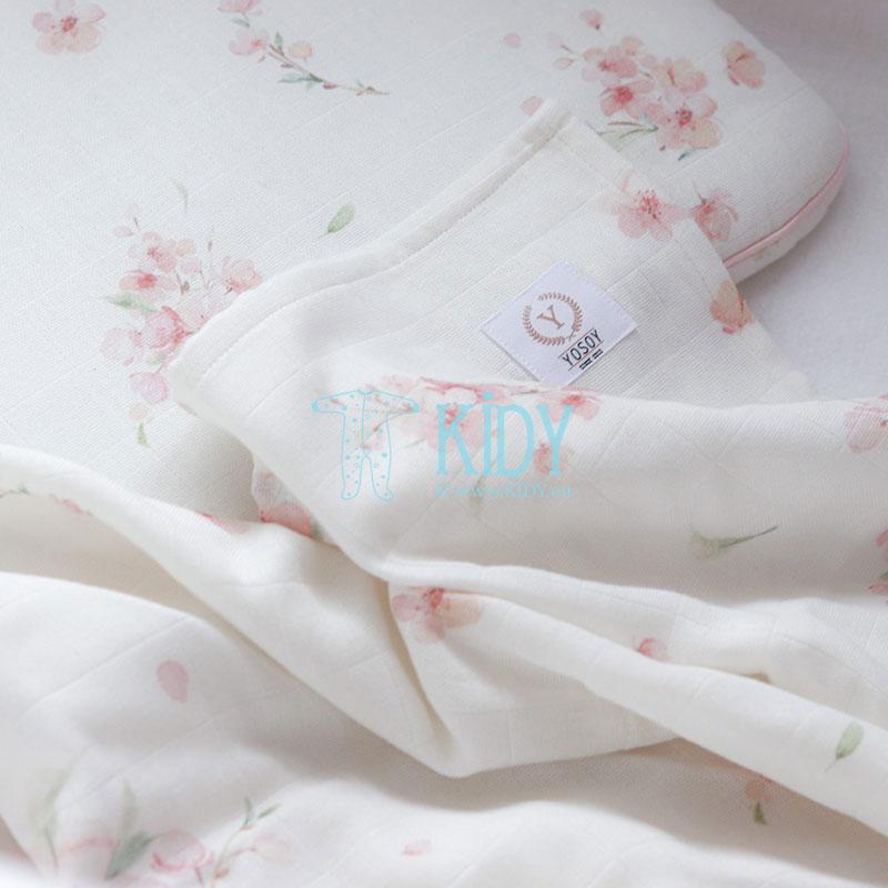 Organic cotton Japanese Flowers muslin wrap