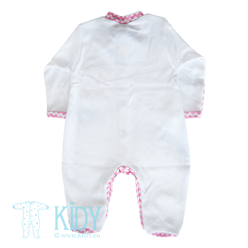 Pink sleepsuit ELEPHANT with mitts (Zuzia) 3