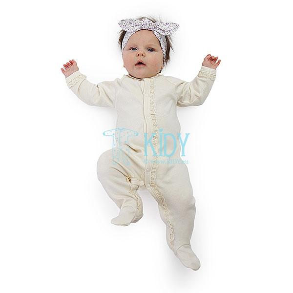 Kreminis kombinezonas-pižama LULU su nėriniu