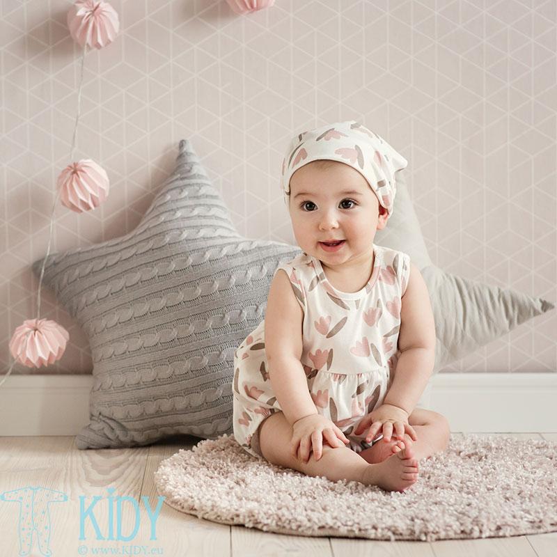 Ecru bodžiukas TINY FLOWERS su elastinėmis juostomis
