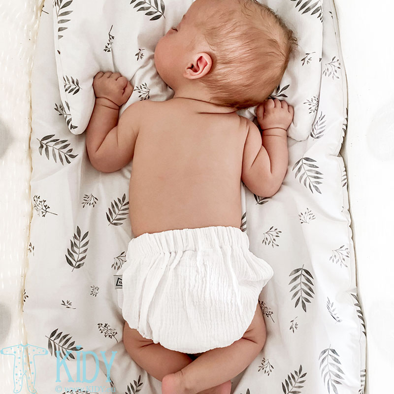Ekologiškos medvilnės patalynės komplektas Grey leaves: antklodė + pagalvė