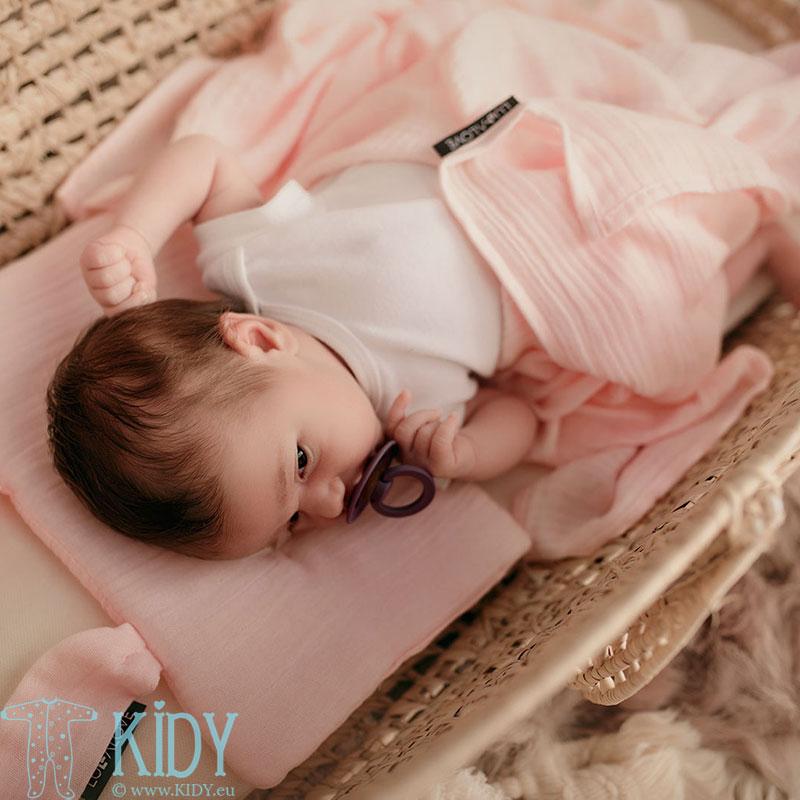 Розовая бамбуковая муслиновая пеленка ROZOWY KWARC