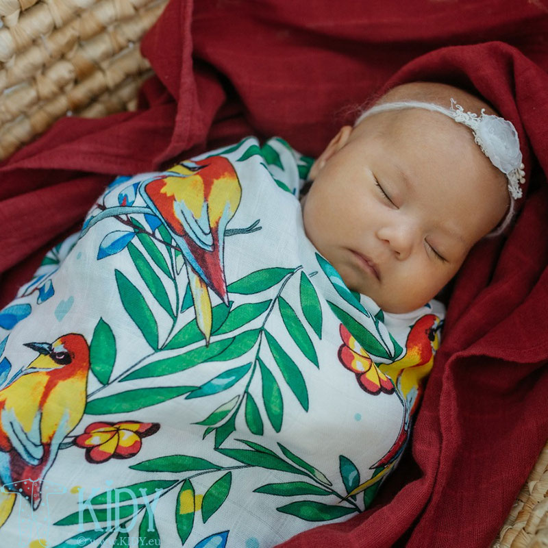 Bamboo muslin BLOOMING DAY swaddle