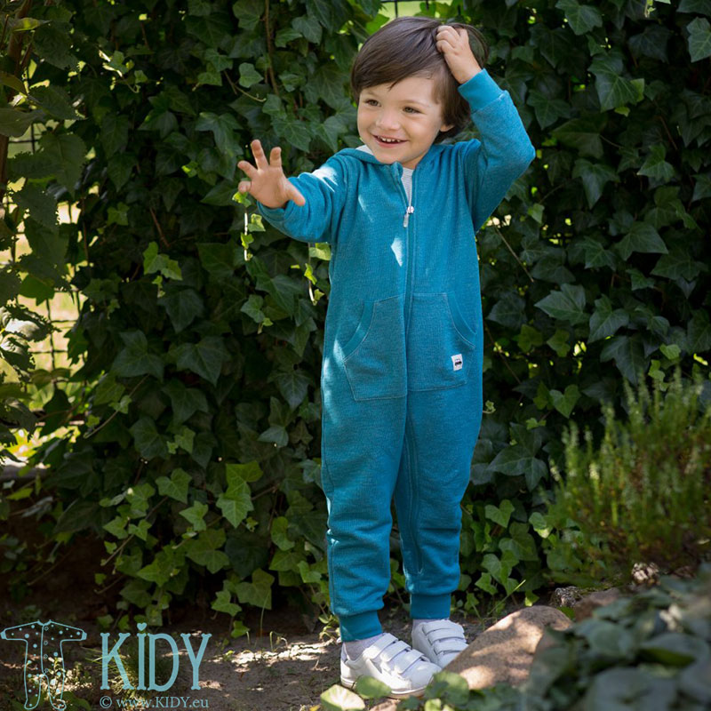 Turquoise LITTLE CAR hooded overall