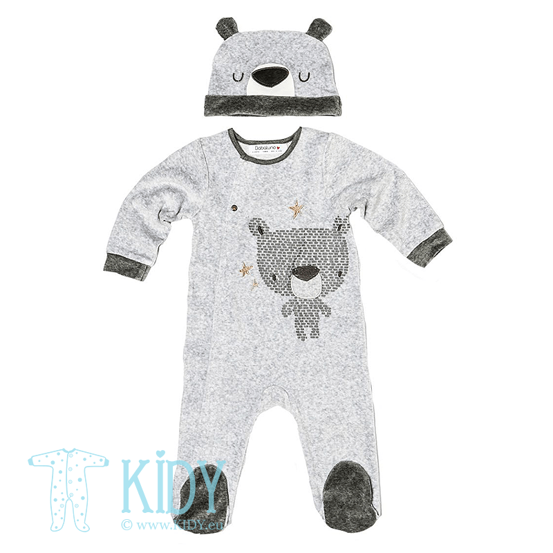 Grey sleepsuit BEAR with hat