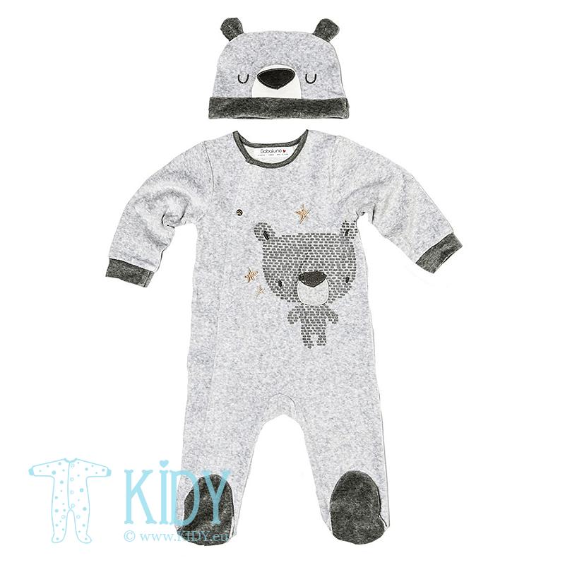 Pilkas kombinezonas-pižama BEAR su kepurytė
