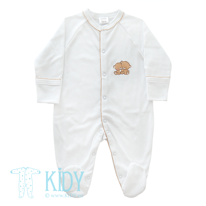 White sleepsuit POPSI with mittens