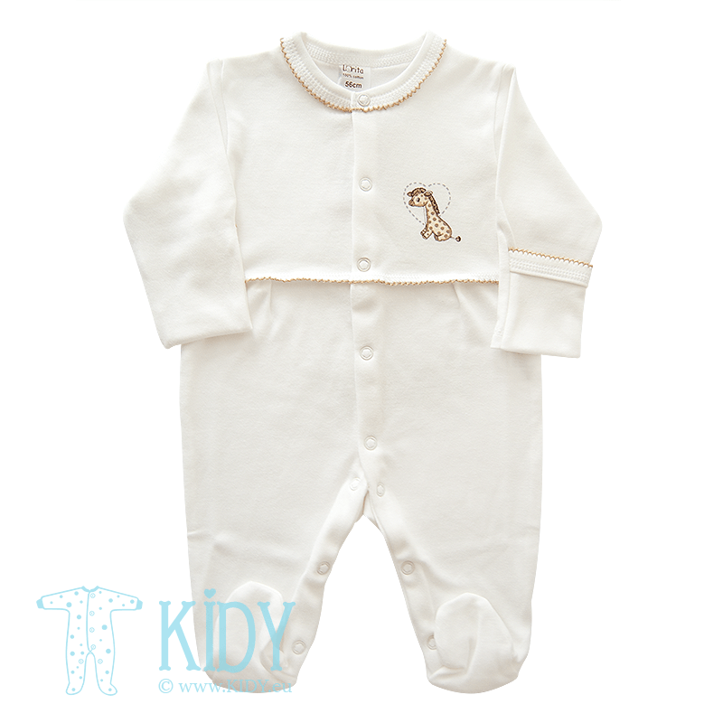White sleepsuit MINI ZOO with mittens