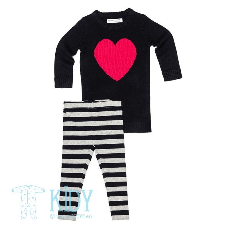 Navy set LITTLE: dress + leggings (Minoti)