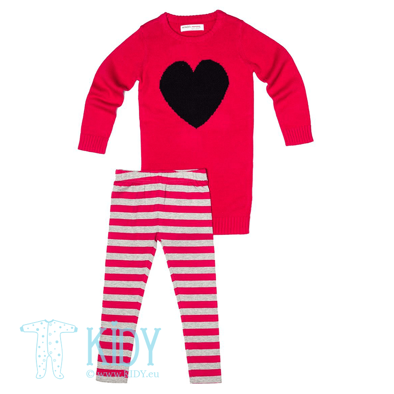 Pink set LITTLE: dress + leggings (Minoti)