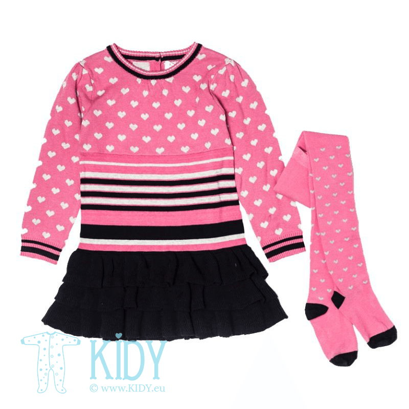 Rožinis komplektas GLITTER: suknelė + pėdkelnės