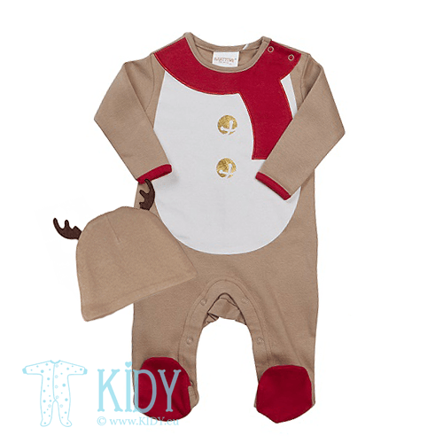 Beige sleepsuit BABY CHRISTMAS with hat