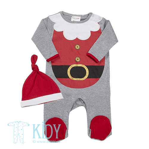 Grey sleepsuit BABY CHRISTMAS with hat