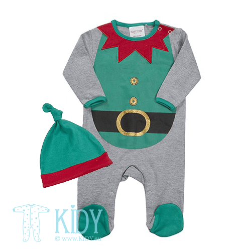 Green sleepsuit BABY CHRISTMAS with hat