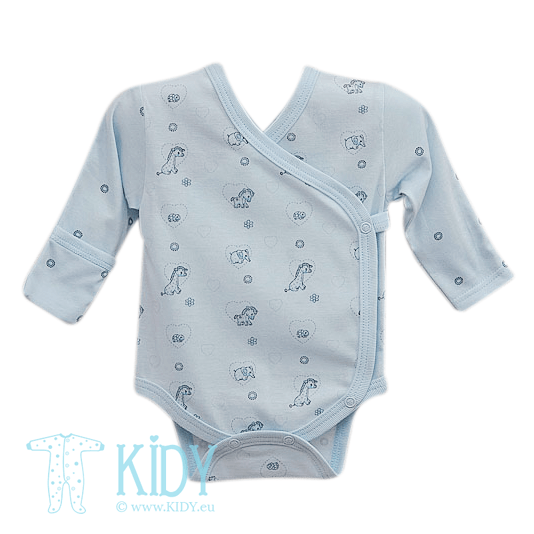 Blue kimono bodysuit MINI ZOO with mitts