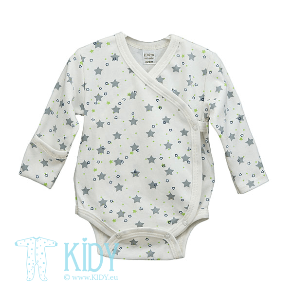 Baltas smėlinukas-kimono STARS su pirštinėlėmis