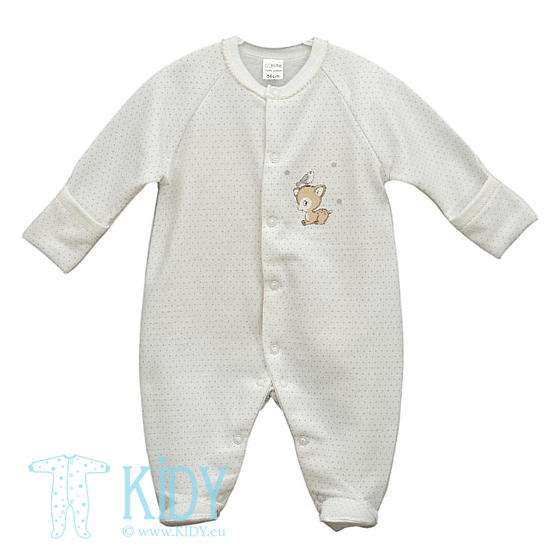 White sleepsuit RUDI with mitts