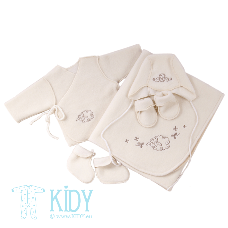White FLOKATI set for newborn with plaid