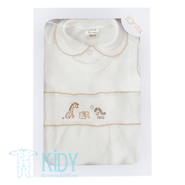 MINI ZOO set: dungaree + shirt + easy shirt + cap