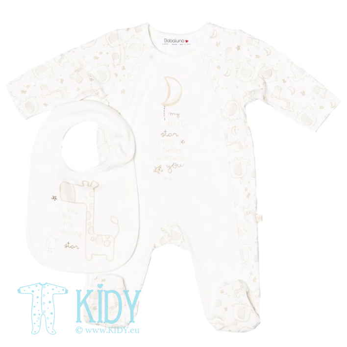 Cream sleepsuit MOON with bib