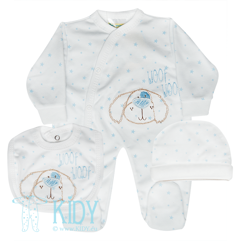 Blue PREMATURE set: sleepsuit + bib + hat