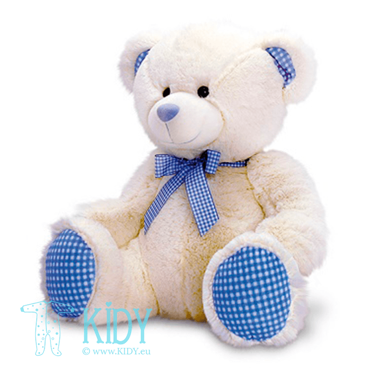 Кремовый с синим плюшевый мишка GINGHAM (Keel Toys)