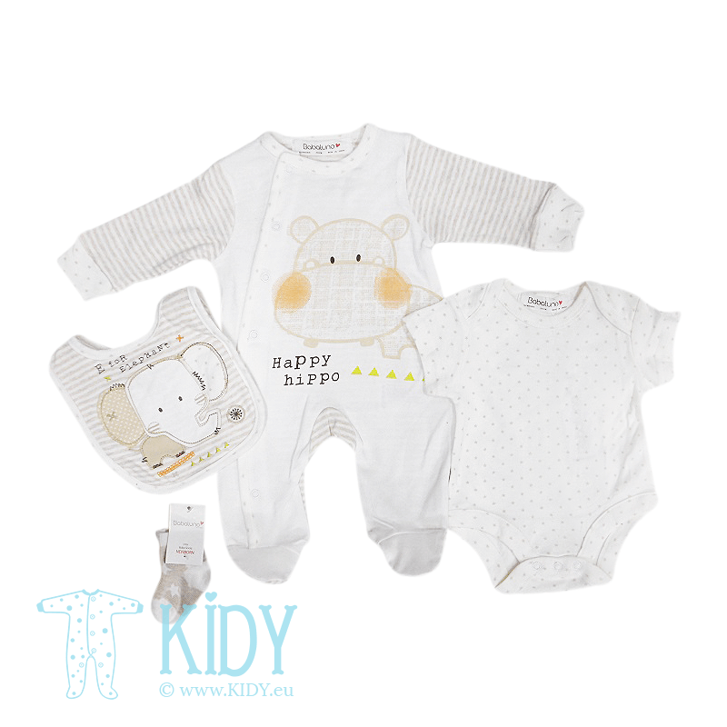 JUNGLE CREW set: sleepsuit + bodysuit + bib + socks