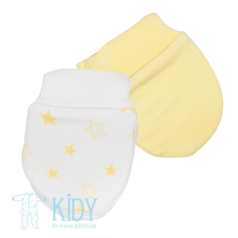 Yellow STARS set: 2 pairs of mitts