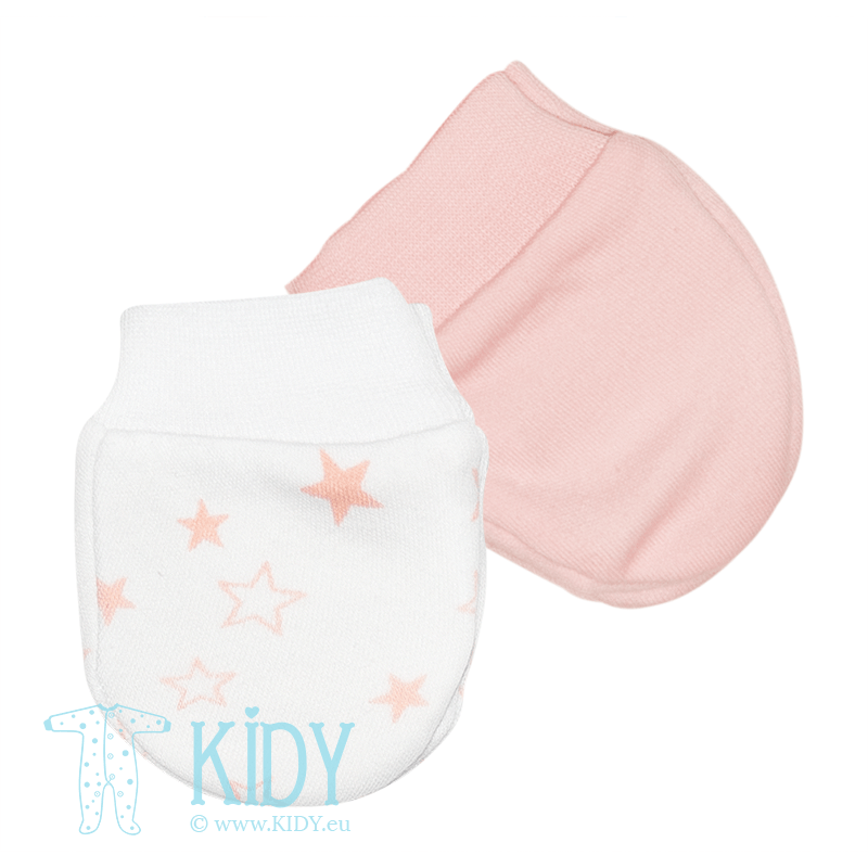 Pink STARS set: 2pk scratch mitts