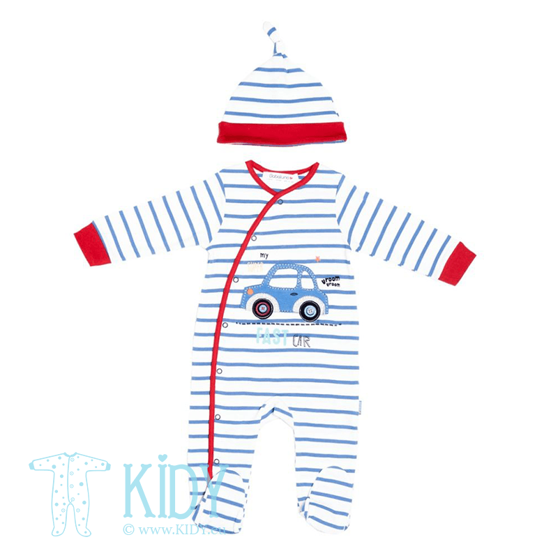 Blue TRANSPORT sleepsuit with hat