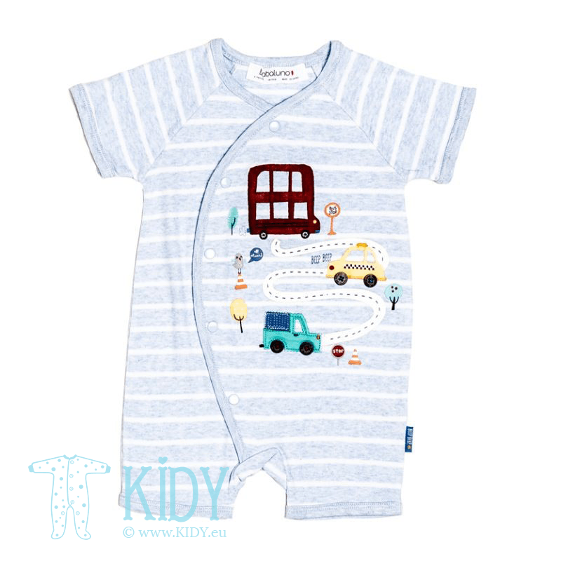 Blue TRANSPORT romper with socks