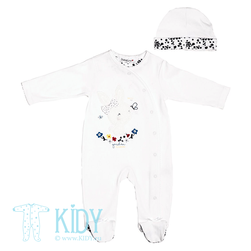 White BUTTERFLY sleepsuit with hat