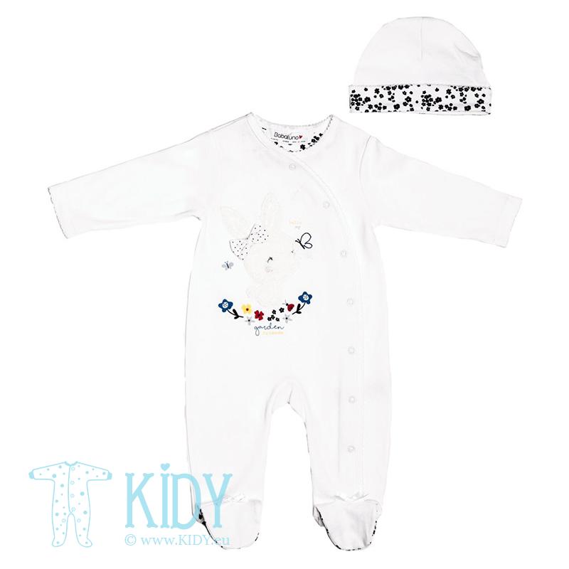 Baltas kombinezonas-pižama BUTTERFLY su kepurytė