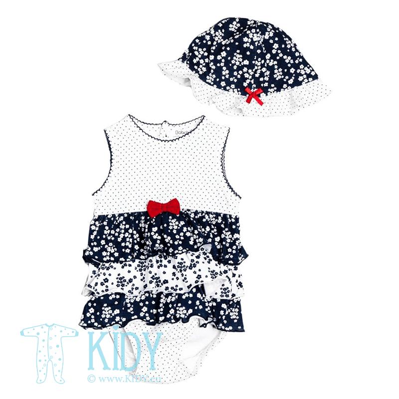 Mėlynas smėlinukas BUTTERFLY su sijonėliu ir kepurė