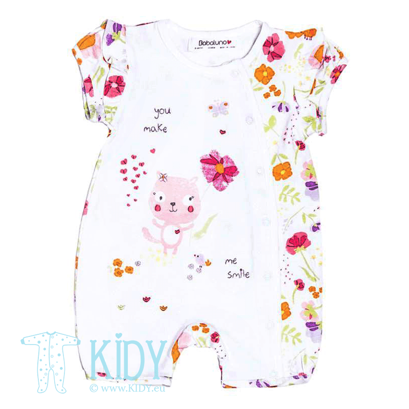 White romper FLOWERS with socks