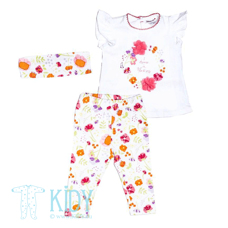 FLOWERS set: top + legging + headband