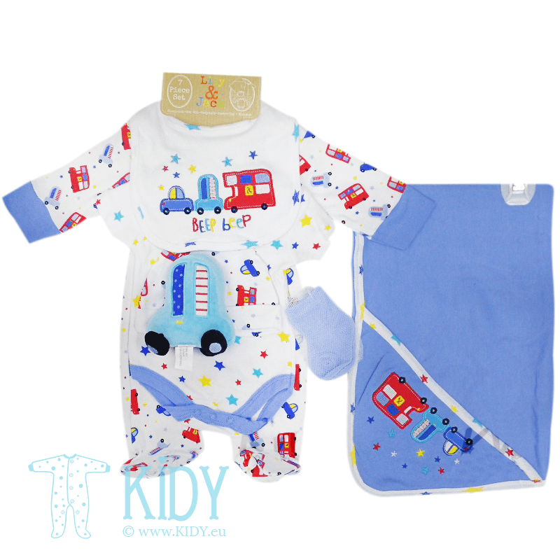 BEEP BEEP layette set: 7 pieces