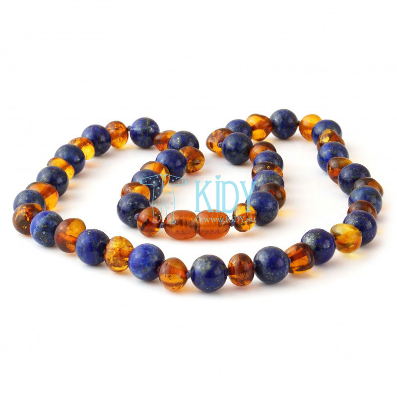 Amber COGNAC necklace with lapis lazuli (Baltic Amber) 4